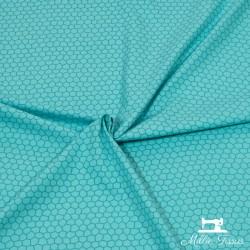 Tissu Popeline formes X10cm - turquoise  - 1Tissupopelineformes -turquoise 100% coton Certifié Oekotex Laize d'1m50 Le tissu