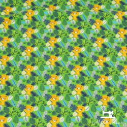 Tissu jersey lions jungle X10cm - vert  - 1Tissu jerseylions jungle - vert 95% coton 5% élasthanne Laize d'1m50 - certifié Oeko