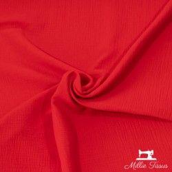 Tissu Double gaze coton X10cm- rouge  - 1Double Gaze -rouge 100%coton , certifié OekoTex Laize d'1m30 Le tissu est vendu par m