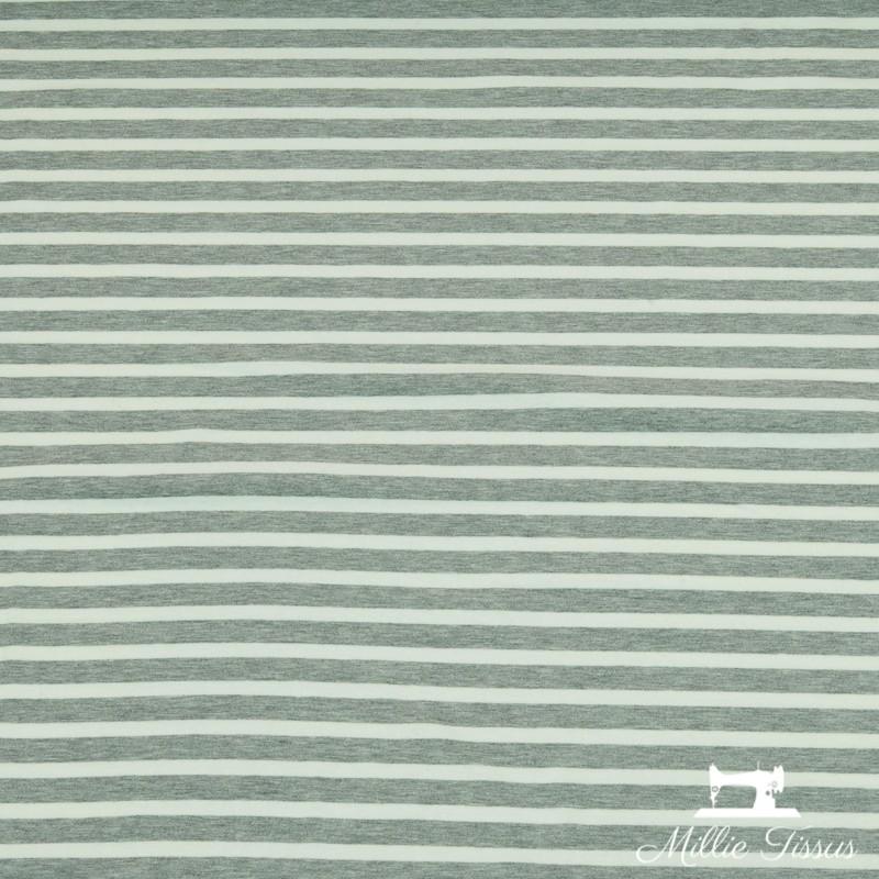 Tissu French Terry marinière X10cm - gris  - 1Tissusweat léger marinière -gris Rayure grise : 1,2cm - rayure blanche : 0,7cm 9