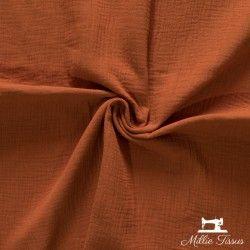 Tissu Double gaze coton X10cm- Terracotta  - 1Double Gaze -Terracotta 100%coton , certifié OekoTex Laize d'1m30 Le tissu est v