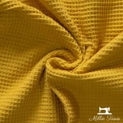 Eponge Nid d'abeille  X10cm- moutarde  - 1Tissuépongenid d'abeille-moutarde 100% coton, certifié OekoTex Laize d'1m47 Le tis