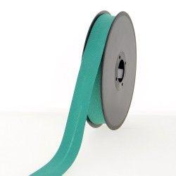 Biais polycoton 20mm - vert jade  - 2Biais vert jade Largeur 20mm 50% coton - 50% polyester Certifié OekoTex 1 unité = 0m50; po