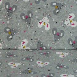 Tissu sweat léger souris X10cm - gris souris  - 1Tissusweat léger envers coton gratté - souris gris 95% coton, 5% élasthanne C