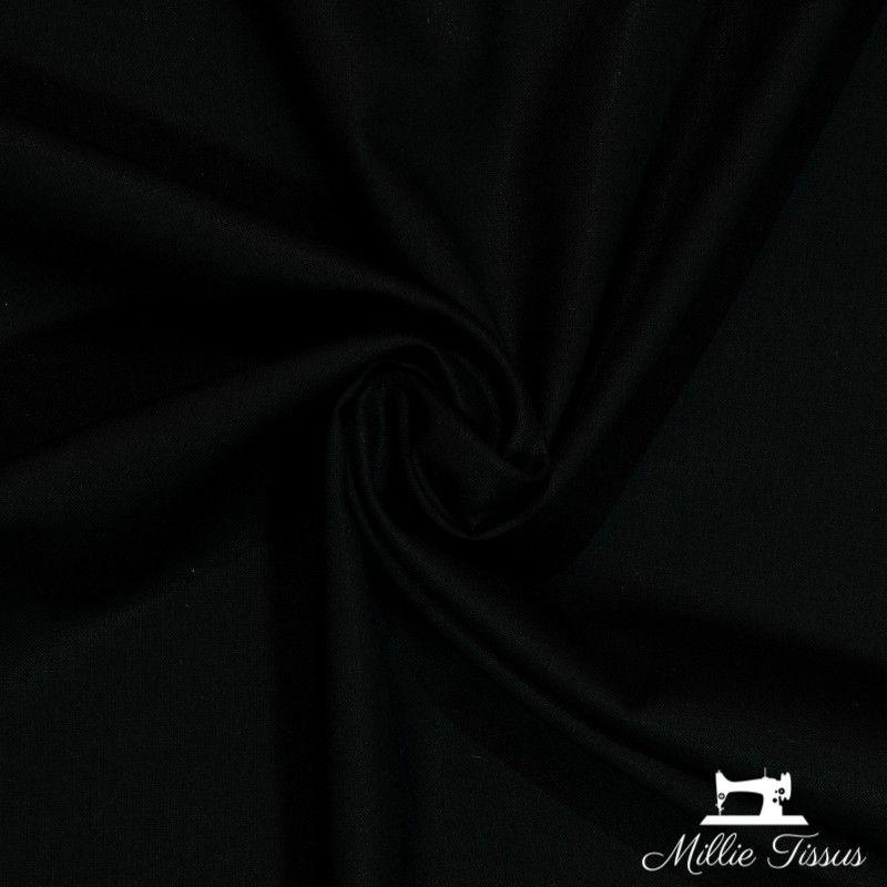 Tissu coton uni X10cm- noir  - 1Tissu coton -noir 100%coton , certifié OekoTex Laize d'1m45 Le tissu est vendu par multiple de