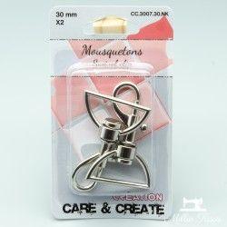 Mousquetons 30mm (x2 pièces) - nickel  - 1Deux mousquetons métalliques, de couleur nickel Pour une sangle de 30mm de large