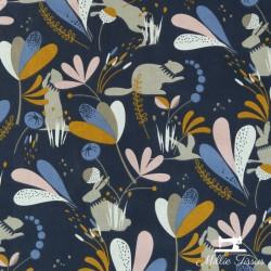 Tissu coton Lorena X10cm - Nuit/Blush  - 1Tissucoton marmotte et lapin - couleurnuit et blush 100% coton - certifié OekoTex Ha