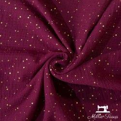 Tissu Double gaze coton pois dorés X10cm - Bordeaux  - 1Double Gaze à pois dorés en relief - bordeaux 100%coton certifié Oeko-Te