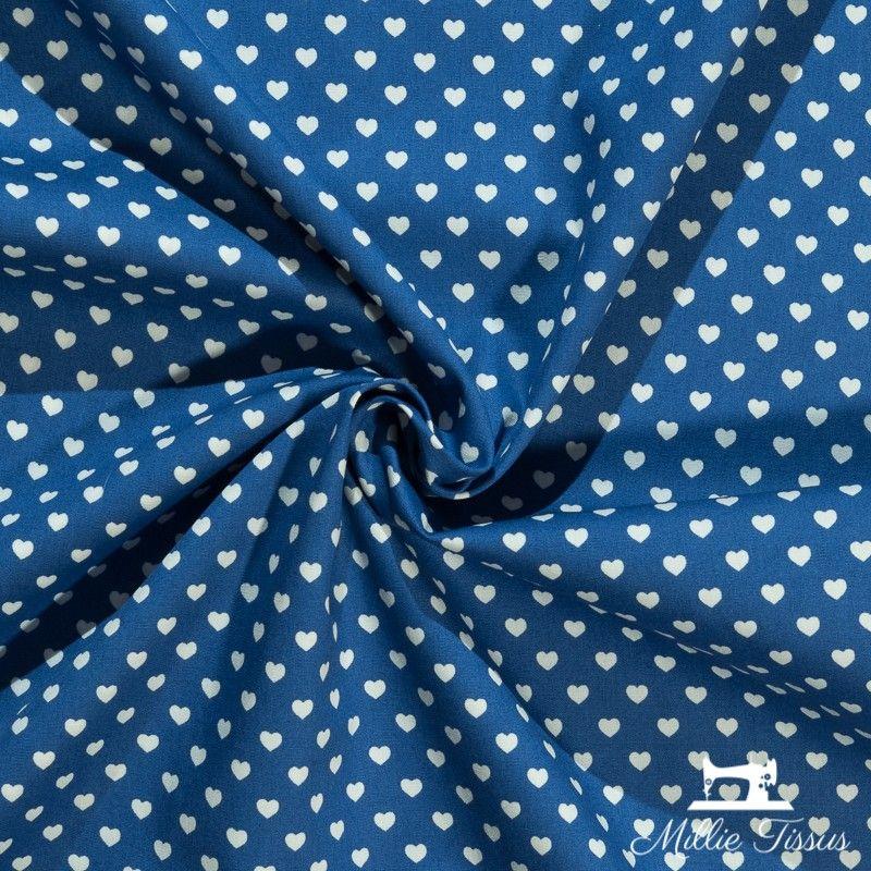 Tissu popeline petits coeurs X10cm - bleu  - 1Tissu popeline petits cœurs blancs sur fond bleu 100% coton Laize d'1m45 - dimensi