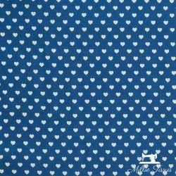 Tissu popeline petits coeurs X10cm - bleu  - 2Tissu popeline petits cœurs blancs sur fond bleu 100% coton Laize d'1m45 - dimensi