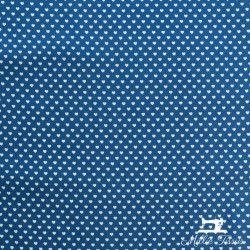 Tissu popeline petits coeurs X10cm - bleu  - 3Tissu popeline petits cœurs blancs sur fond bleu 100% coton Laize d'1m45 - dimensi