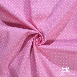 Tissu coton mini pois X10cm - rose  - 1Tissumini pois blanc sur fond rose 100% coton Laize d'1m40 - dimension du pois : 5mm