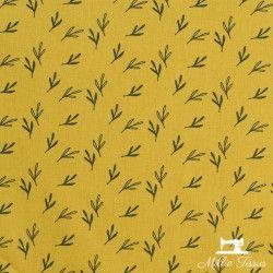 Tissu coton Feuilles Eucalyptus X10cm - Moutarde  - 1Tissucotonmotif feuilles eucalyptus - moutarde 100% coton - certifié Oeko