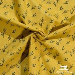Tissu coton Feuilles Eucalyptus X10cm - Moutarde  - 2Tissucotonmotif feuilles eucalyptus - moutarde 100% coton - certifié Oeko