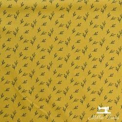 Tissu coton Feuilles Eucalyptus X10cm - Moutarde  - 3Tissucotonmotif feuilles eucalyptus - moutarde 100% coton - certifié Oeko