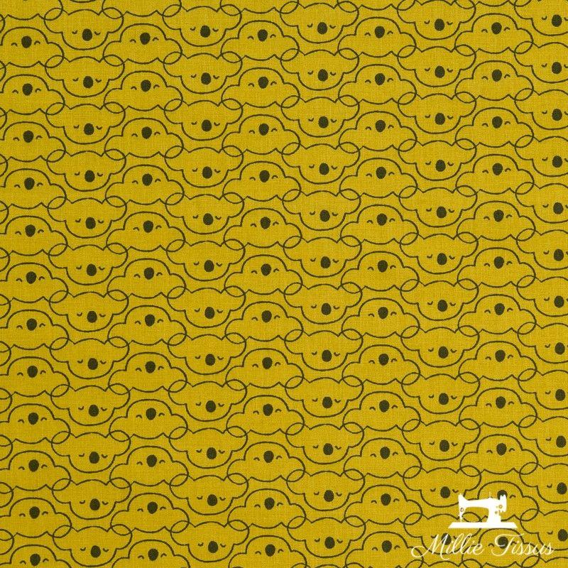 Tissu coton têtes de koalas X10cm - Moutarde  - 1Tissucotontêtes koalas- moutarde 100% coton - certifié OekoTex Dimension mot