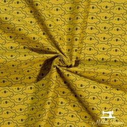 Tissu coton têtes de koalas X10cm - Moutarde  - 2Tissucotontêtes koalas- moutarde 100% coton - certifié OekoTex Dimension mot
