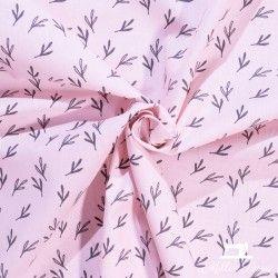 Tissu coton Feuilles Eucalyptus X10cm - Rose  - 2Tissucotonmotif feuilles eucalyptus -rose 100% coton - certifié OekoTex Dime