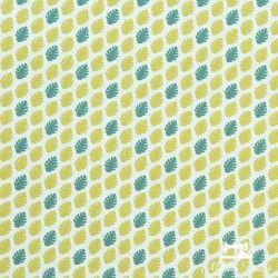 Tissu coton mini feuilles palmier X10cm - vert  - 1Tissucotonmini feuilles palmier- blanc 100% coton - certifié OekoTex Laize