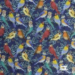 Tissu coton Blend Floral Birdie Collection Oiseaux X10cm - Marine Blend Fabrics - 1Tissucoton birdie collection- marine 100% c