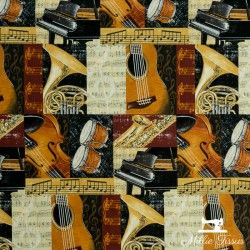Tissu coton Blank Quilting Let the Music Play X10cm - Marron Blank Quilting Corporation - 1Tissucoton Let the music play - marr
