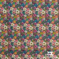 Tissu coton Blend Forest Friend fleurs X10cm - Violet Blend Fabrics - 1TissucotonForest Friends Fleurs - violet 100% coton Ra