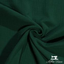 Tissu Double gaze coton X10cm - Vert sapin  - 1Double Gaze -Vert sapin 100%coton , certifié OekoTex Laize d'1m30 Le tissu est