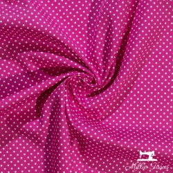 Tissu coton mini pois X10cm - fuchsia  - 1Tissumini pois blanc sur fond rose fuchsia 100% coton Laize d'1m40 - dimension du poi