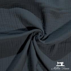 Tissu Double gaze coton X10cm- anthracite  - 1Double Gaze -anthracite 100%coton , certifié OekoTex Laize d'1m30 Le tissu est v