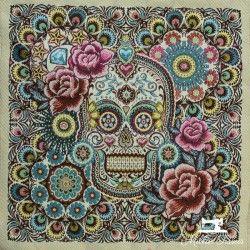 Carré jacquard Tête de mort X10cm - Multicolore  - 1Coupon carré de tissus jacquard - tête de mort multicolore 100% polyester D