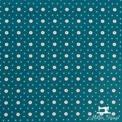 Tissu coton cretonne enduit Ceramik X10cm - bleu canard  - 1Tissucretonne enduit Ceramik -bleu canard 100% coton Laize d'1m60