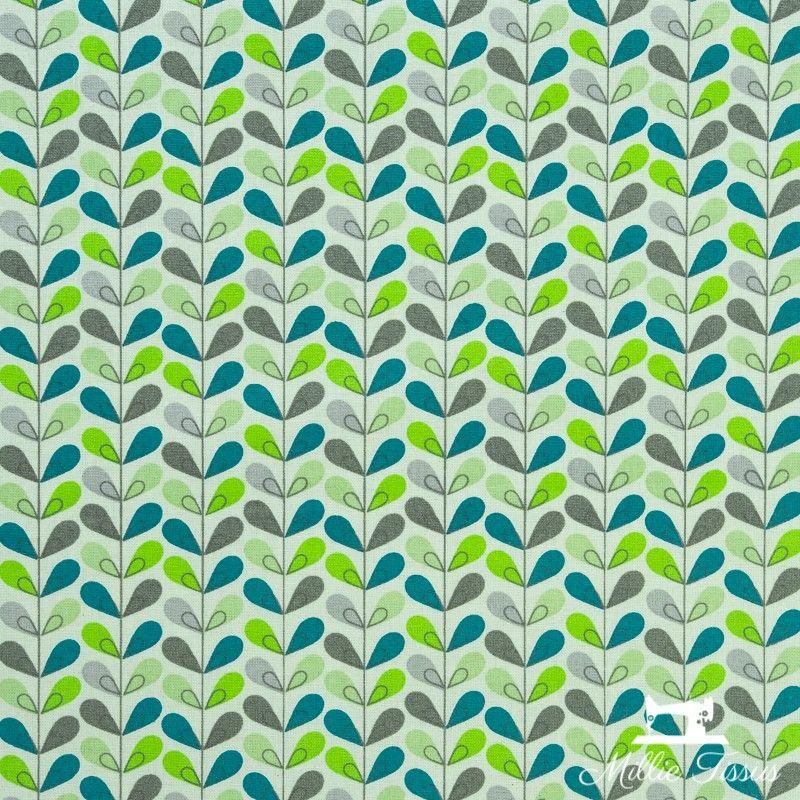 Tissu coton cretonne enduit Scandy X10cm - turquoise  - 1Tissucretonne enduitScandy -turquoise et anis Raccord :6,3 cm 100%
