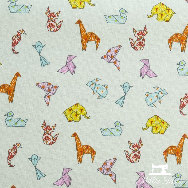 Tissu coton cretonne enduit Origami X10cm - écru  - 1Tissucretonne enduit origami - écru Raccord :15,9 cm 100% coton Laize d'
