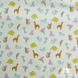 Tissu coton cretonne enduit Origami X10cm - écru  - 2Tissucretonne enduit origami - écru Raccord :15,9 cm 100% coton Laize d'