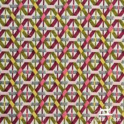 Tissu Jacquard Croisillons X10cm - Fuchsia  - 1TissujacquardCroisillons -fuchsia Raccord :environ 9,5cm 53% polyester, 47%c