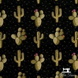 Tissu Jacquard Cactus X10cm - Noir  - 1Tissujacquard Cactus -noir Raccord : 15cm 72% polyester, 28%coton Laize d'1m40 Le tiss