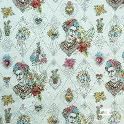 Tissu Jacquard Frida Khalo X10cm - Blanc  - 1TissujacquardFrida Khalo - blanc Hauteur motif : 16 cm - Raccord : environ 36,5 c