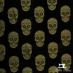 Tissu Jacquard Tête de mort X10cm - Noir et or  - 1TissujacquardTête de mort - Noir et Or Hauteur motif : 6 cm - Raccord : en