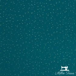 Tissu Double gaze coton pois dorés X10cm- bleu canard  - 3Double Gaze à pois dorés en relief -bleu canard 100%coton certifié Oe