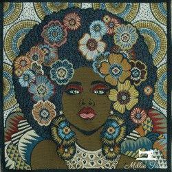 Carré jacquard femme afro et fleurs X10cm - bleu et jaune  - 1Coupon carré de tissus jacquard -femme afro et fleurs, jaune et b