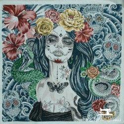 Carré jacquard Jour des morts X10cm - bleu  - 1Coupon carré de tissus jacquard -Jour des morts, bleu 100% polyester Dimension :