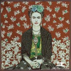 Carré jacquard Magda X10cm - rouge  - 1Coupon carré de tissus jacquard -Magda rouge 100% polyester Dimension : 45cm X 45cm (+/-