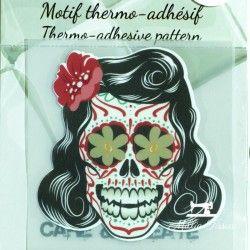 Motif thermo-adhésif Fête des morts femme  - 1Motif thermo-adhésif -Fête des morts femme Largeur : 6,7cm X Hauteur : 6,7cm  Ven
