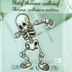 Motif thermo-adhésif Squelette  - 1Motif thermo-adhésif -Squelette Largeur : 5,1cm X Hauteur : 6,9cm  Vendu à l'unité