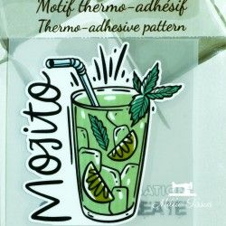 Motif thermo-adhésif Mojito  - 1Motif thermo-adhésif -Mojito Largeur : 6,3cm X Hauteur : 7cm  Vendu à l'unité
