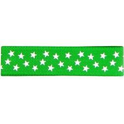 Gros grain vert - étoiles blanches  - 1Galon gros grainvert avec étoiles blanches 15 mm de largeur 1 unité = 0m50 ; pour plusi