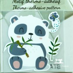Motif thermo-adhésif Panda  - 1Motif thermo-adhésif -Panda Largeur : 7cm X Hauteur : 7cm  Vendu à l'unité