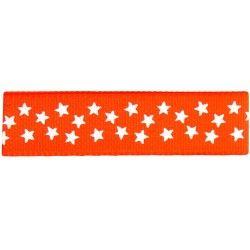 Gros grain orange - étoiles blanches  - 1Galon gros grainorange avec étoiles blanches 15 mm de largeur 1 unité = 0m50 ; pour p