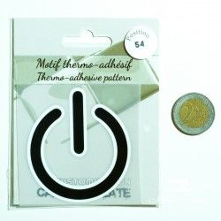 Motif thermo-adhésif Power  - 2Motif thermo-adhésif -Power Largeur : 6,3cm X Hauteur : 7cm  Vendu à l'unité
