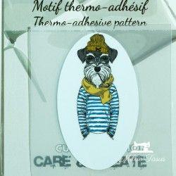 Motif thermo-adhésif chien à pipe  - 1Motif thermo-adhésif - Chien à pipe Largeur : 4,1cm X Hauteur : 6,9cm  Vendu à l'unité